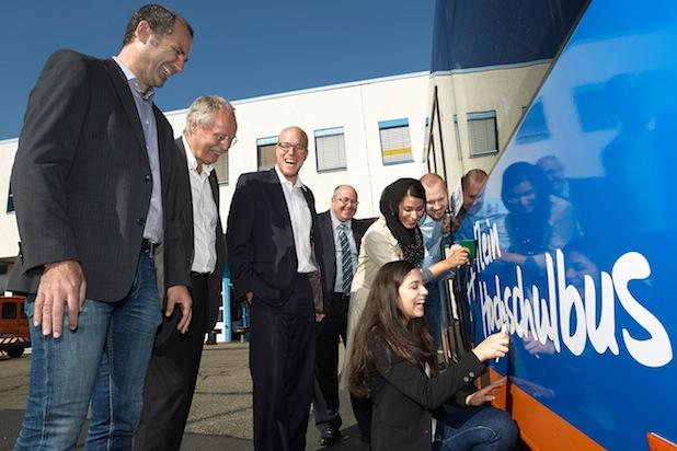 Photo of Studierende der Hochschule Koblenz gestalteten Linienbus der evm Verkehrs GmbH