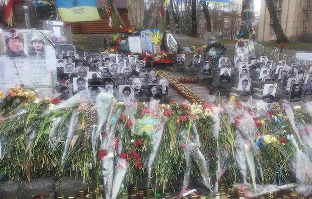 Bild: Erinnerung an einige, beim EuroMaidan-Aufstand getötete, Demonstranten in Kiew. Foto: Prof. Dr. Jörg Fischer.