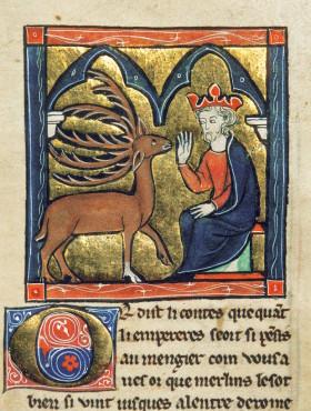 """Illustration aus der Prachthandschrift """"Table Ronde"""" (1286) Foto: Universitäts- und Landesbibliothek Bonn"""
